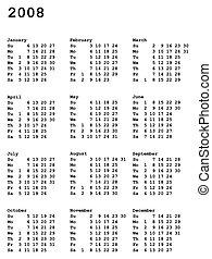 calendar of 2008