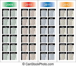 Calendar of 2009-2012 years. Days of week orientation: ...
