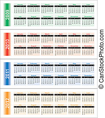 Calendar of 2009-2012 years. Days of week orientation:...