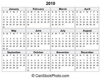 Calendar of 2010 year. Days of week orientation: horizontal....
