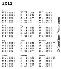 calendar of 2012 - portrait oriented calendar grid 3x4 of ...