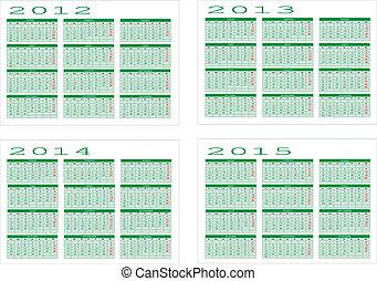 Calendar of 2012 to 2015