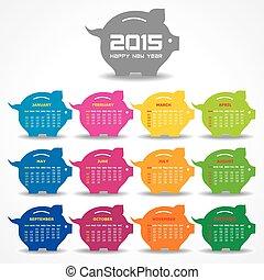 Calendar of 2015 with piggy bank