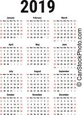 Calendar of 2019 - Calendar for 2019 Year on White...
