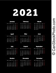 Calendar of 2021 year with week starting from monday, A4 ...