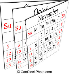 There is a calendar of autumn months, week starting in sunday