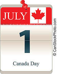 Calendar of Canada Day - Vector of the date white block...