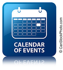 Calendar of events blue square button