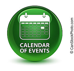 Calendar of events glassy soft green round button
