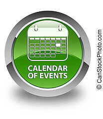 Calendar of events glossy soft green round button