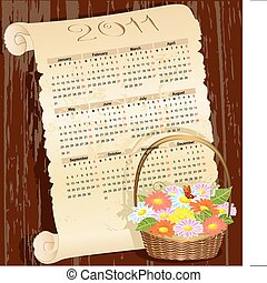 Calendar of grunge with a basket of flowers