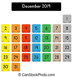 Calendar of the month of December 2019