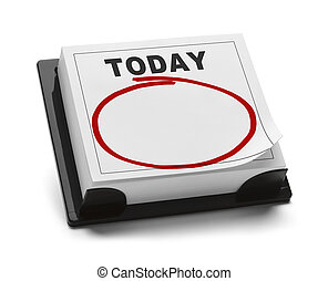 Blank Calendar with Word Today and Red Marker Circle With Copy Space Isolated on White Background.