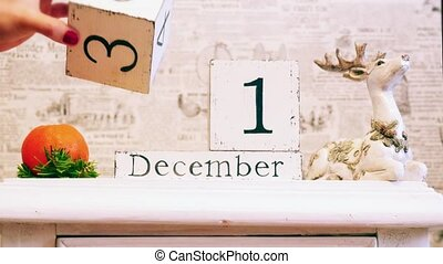 Calendar of wooden blocks, a change of day from December 31...