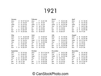Calendario 1921.Calendar Of Year 1922 Vintage Calendar Of Year 1922 With