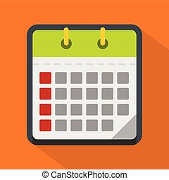 Calendar office icon, flat style