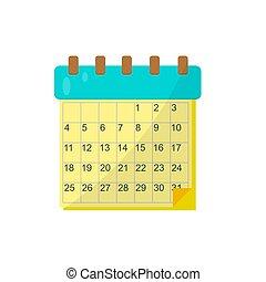Calendar on a white background. Vector illustration