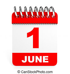 Calendar on white background. 1 June.