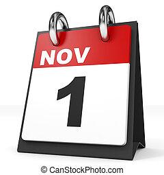 Calendar on white background. 1 November. 3D illustration.