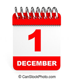 Calendar on white background. 1 December.