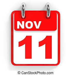 Calendar on white background. 11 November.