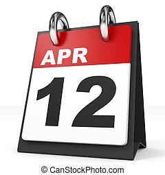 Calendar on white background. 12 April. 3D illustration.