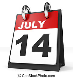 Calendar on white background. 14 July. 3D illustration.
