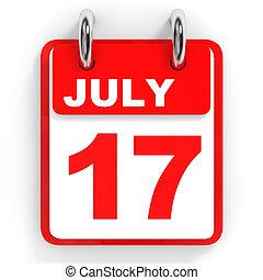 Calendar on white background. 17 July. 3D illustration.