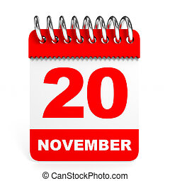 Calendar on white background. 20 November. 3D illustration.