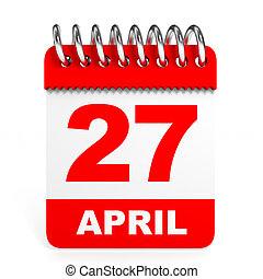 Calendar on white background. 27 April. 3D illustration.