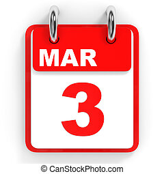Calendar on white background. 3 March. 3D illustration.