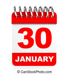 Calendar on white background. 30 January. 3D illustration.