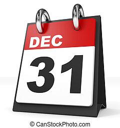 Calendar on white background. 31 December. 3D illustration.