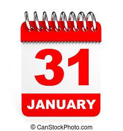 Calendar on white background. 31 January. 3D illustration.