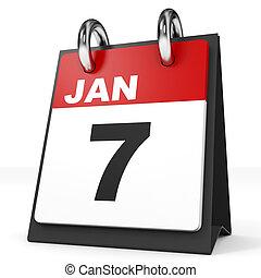 Calendar on white background. 7 January. 3D illustration.