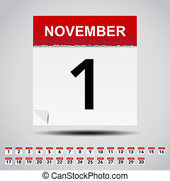Calendar on white paper note.