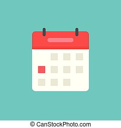 Calendar or agenda icon vector, flat cartoon schedule symbol with red date selected isolated on white background clipart