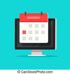Calendar or agenda on computer screen vector illustration, flat cartoon online organizer app on pc display with event date reminder image