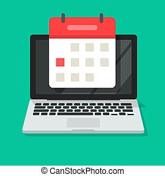 Calendar or agenda on laptop computer screen vector icon, flat cartoon online organizer app on pc display with event date reminder top view image