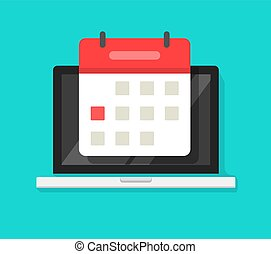 Calendar or agenda on laptop computer screen vector icon, flat cartoon online organizer app on pc display with event date reminder front view image