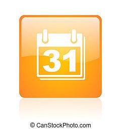 calendar orange square glossy web icon