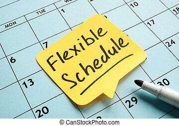 calendar., orario, flessibile, scritto mano, promemoria