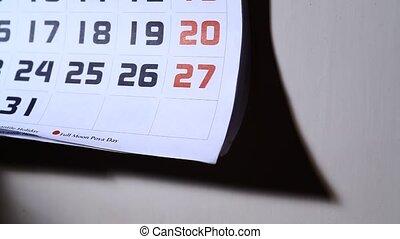 Calendar page close up