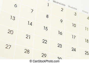 Calendar page - Closeup of numbers on calendar page