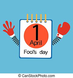 Calendar Page Fool Day April Holiday Greeting Card Banner With Spring Hands