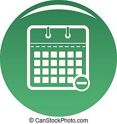 Calendar page icon vector green