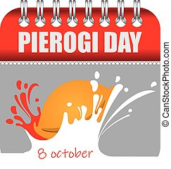 Calendar with perforation for changing dates - october Pierogi Day