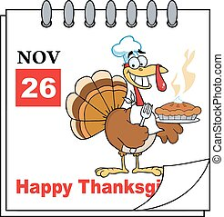 Calendar Page Turkey Chef With Pie