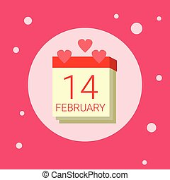 Calendar Page With 14 February Date Icon On Pink Background...