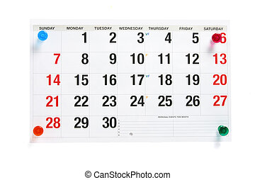 Calendar Page with Pushpins